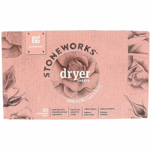 Stoneworks Dryer Sheets Rose 50 Count by Grab Green Stoneworks Rose Petal was inspired by the delight that comes from stepping out into a garden in the early morn. The fresh  soft scents awaken the senses and welcome you to the day with a little smile.Rose Petal fragrance was carefully crafted with essential oils to mimic the natural essence of a rose garden fresh morning dew  crisp leaves and soft petals enrich your linens and bring you back to that garden with every whiff.These dryer sheets make a perfect companion to our Stoneworks Rose Petal Laundry Detergent Pods and will enhance your clothes with a light & floral scent.