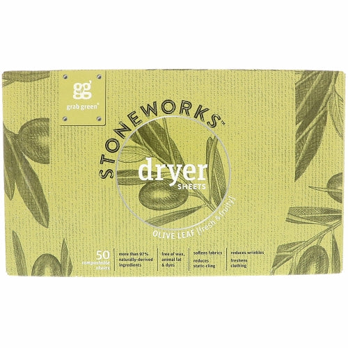 Stoneworks Dryer Sheets Olive Leaf 50 Count by Grab Green Stoneworks Olive Leaf draws from love of cooking with freshly picked garden ingredients and this delight in utilizing freshly pressed olive oil in the kitchen and in homemade beauty remedies. The fresh & fruity fragrance takes us back to the kitchen where family & laughter become harmonious.