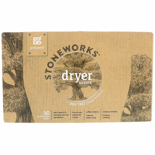 Stoneworks Dryer Sheets Oak Tree 50 Count by Grab Green Stoneworks Oak Tree is a scent inspired by the bold and steadfast qualities we encounter from this stoic entity and hearkens to a life of open space  dusty sunsets  handmade crafts and rich spices  bringing a hint of leather & lace to your linens.