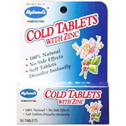 Cold Tablets with Zinc 50 Tabs by Hylands Are you miserable because of a drippy nose and a shooting pain in your head? Say bye-bye to your misery with Hyland's Cold Tablets with Zinc that can help you in giving you relief with the symptoms of common cold. This homeopathic concoction will soothe your symptoms without interfering with your other medication. The Cold Tablets with Zinc helps in providing temporary relief with a runny nose, headache, and nasal congestion and quickly dissolve in your mouth. BenefitsHelps with nasal congestion and runny noseProvides temporary relief during common coldSoothes the symptoms of the common coldMay help with a headache due to coldDissolves quickly in the mouth