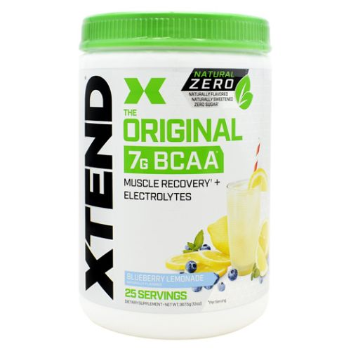 Natural Zero Xtend Blue Lemonade 25 Each by Scivation Natural Zero  Naturally Flavored  Naturally Sweetened  Zero Sugar. The Original. 7g BCAA. Muscle Recovery + Electrolytes. The Official Recovery Brand of Champions. Xtend Natural Zero Is Free of Artificial Sweeteners  Flavors  And Chemical Dyes  its The Naturally Flavored Version Of Our AwardWinning Xtend Recovery And Performance Formula. Powered By 7 Grams Of BranchedChain Amino Acids (BCAAs)  Which Have Been Clinically Shown To Support Muscle Recovery And Growth  Xtend Natural Zero Also Contains Hydrating Electrolytes And Additional Performance Ingredients To Help You Refuel  Repair  And Recover. Try Each Mouthwatering  Naturally Sweetened Flavor Of Xtend Natural Zero To Fuel Your Health And Fitness Goals. The Natural Zero Promise  Naturally Flavored. Naturally Sweetened. Zero Sugar.