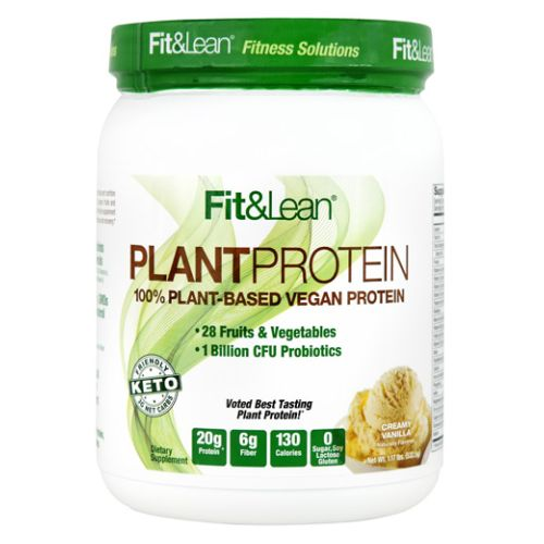 Fit & Lean Plant Protein Creamy Vanilla 1 lb by Maximum Human Performance 100% PlantBased Vegan Protein. 28 Fruits and Vegetables. 1 Billion CFU Probiotics. Voted Best Tasting Plant Protein 20g Protein. 6g Fiber. 130 Calories. 0 Sugar  Soy Lactose  Gluten. Keto Friendly. 3g Net Carbs. Plant Protein Never Tasted So Good! Fit & Lean Plant Protein Delivers Unmatched Taste And Nutrition With 20 Grams Of NonGMO Plant Protein (Organic Pea And Rice  And Fava Bean)  28 Organic Fruits And Vegetables  1 Billion CFU Probiotics  And 22 Vitamins And Minerals. This Vegan  And Keto Friendly Supplement Is a Great Addition to Any Health and Fitness Program for Optimal Muscle Building  Performance and Recovery. 20g Complete Protein. Provides Complete Amino Acid Protein Profile. 28 Fruits and Vegetables. Includes Beet  Kale  Spinach  Mango  Blueberry  Pineapple  Banana And Carrot. 1 Billion CFU Probiotics. Supports Immune Support System and Digestion. 22 Vitamins and Minerals. Includes 100% DV Vitamin A  Vitamin C And Vitamin D. No Dairy  GMOs  or Cholesterol. 6g Fiber. High In Fiber  Includes Oat Fiber And Flaxseed. No Artificial Flavors or Sweeteners. Made With Organic  Pea Protein  Rice Protein And Vegetables.