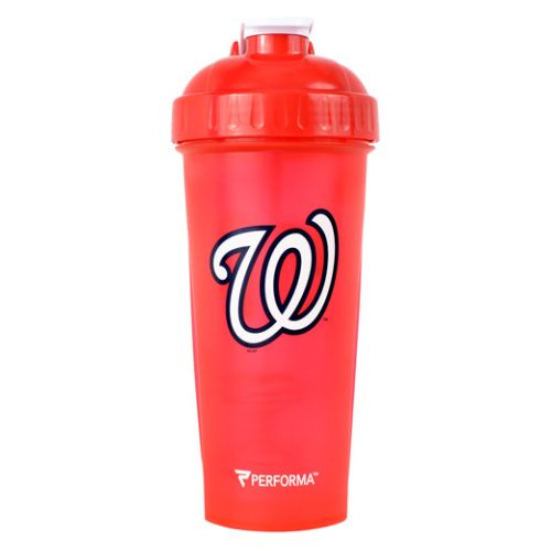 Shaker Cup Washington Nationals 28 Oz by PerfectShaker Perfect Shaker Hero Series Shaker Cup lets you rehydrate and fuel like your favorite hero. The shaker cup makes smooth and delicious mixes everytime  in its leakfree  extra strong  BPAFree bottle design thats dishwasher safe.PerfectShaker crafts the worlds best 100% leakfree shaker bottles and mixing bottles. Mix protein  greens  waffle batter  sauces  gravy or anything really! BPAfree and Dishwasher safe.