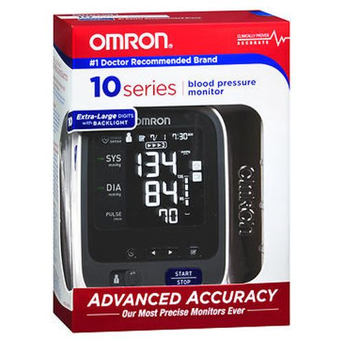 Omron 10 Series Blood Pressure Monitor 1 Each by Omron This premium blood pressure monitor stores 200 blood pressure readings for two users (100 per user). With the monitor  you get the OMRON preformed ComFit cuff. Unit operates on 4 AA batteries (included) and AC Adapter (included).