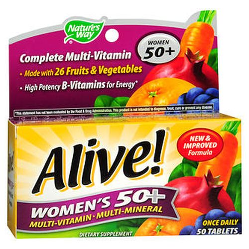 Natures Way Alive! Womens 50+ MultiVitamin MultiMineral Tablets 50 Tabs by Natures Way Complete multivitamin made with 26 fruits and vegetables. Extra Bvitamins for energy.* Optimized formula for women 50+. 1000 IU vitamin D for breast health * plus nutrients to support  energy *heart health *bones *immunity *eyes *cellular health.*Superior potency 100%+ daily value of 20 vitamins/minerals. Provides essential nutrients to help support  breast health* (vitamin D) hair  skin and nails* (vitamin C  biotin) bone health* (boron  calcium  folic acid  magnesium  manganese  vitamins D and K) eye health* (lutein  vitamin A [beta carotene]  vitamins C  energy and vitality* (Bvitamins  chromium  magnesium) cellular health* (antioxidants  copper  selenium  vitamins A  C  heart health* (Bvitamins  pomegranate  vitamins C  immune defense* (antioxidants  selenium  vitamins A  C & D  zinc). Glutenfree. Contains no sugar  salt  soy  yeast  wheat grain  dairy products  artificial flavoring or preservatives. Tablet color is from natural sources. Caffeinefree. No stimulants.