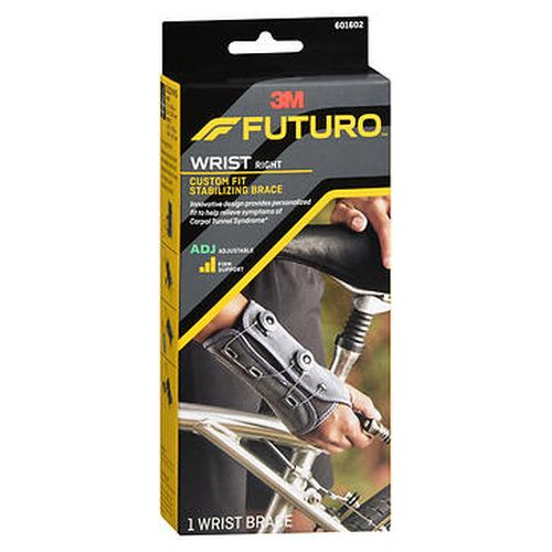 Futuro Custom Fit Stabilizing Wrist Support Adjustable Firm Support Right Hand 1 Each by 3M Breathable material. Two adjustable dials provide personalized fit and firm stabilization. Durable lace and dial system eliminates straps and stays secure. Lowcut  ergonomic design allows for free finger movement. Ideal for support for symptoms of carpal tunnel syndrome  weak or injured wrist. Innovative design provides personalized fit to help relieve symptoms of carpal tunnel syndrome.* Fits  Hand 7.09.25 in (17.823.5 cm)  Wrist  5.757.75 in (14.619.7 cm). *Physicians often recommend the use of a rigid wrist brace during management of Carpal Tunnel Syndrome and other painful wrist conditions.
