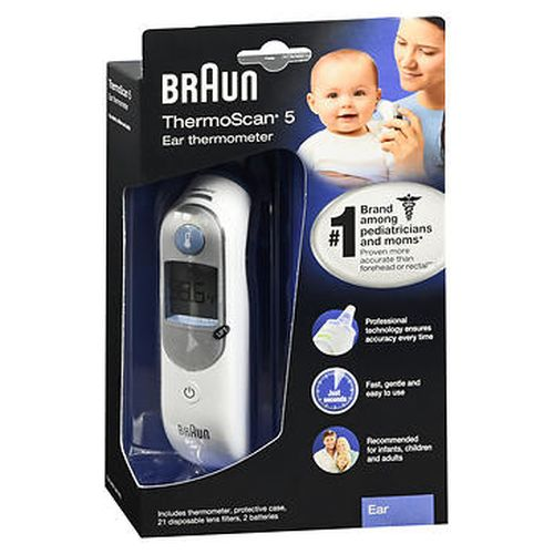 Braun ThermoScan 5 Ear Thermometer 1 Count by Braun Professional technology ensures accuracy every time. Fast  gentle and easy to use. Recommended for infants  children and adults.1 brand among pediatricians and moms.* Proven more accurate than forehead or rectal.** Why measure in the ear? The ear canal is the best site to measure a fever because of its close proximity to the eardrum  which shares the blood supply of the brains temperature control center. This site allows for a more accurate reflection of the bodys core temperature. Exclusive prewarmed tip technology is designed to minimize the cooling effect of the tip inside the ear canal  providing accurate measurements time after time. Unique positioning system uses a light and beep to confirm proper positioning. Memory function recalls the last temperature reading. Contents  thermometer  protective case with lens filter storage  21 disposable kens filters  2 AA alkaline batteries. *Based on 2012 survey of pediatricians in the US  October 2012 Nielsen data for ear thermometers  and a June 2012 consumer survey on thermometer ownership & usage. **Measurements in detecting temperature changes.