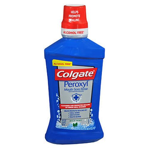 Colgate Peroxyl Mouth Sore Rinse Mild Mint 16 Oz by Colgate For temporary use to cleanse canker sores and minor wounds or minor gum inflammation resulting from minor dental procedures  dentures  orthodontic appliances  accidental injury  or other irritations of the mouth and gums. Alcohol free (does not contain ethyl alcohol).