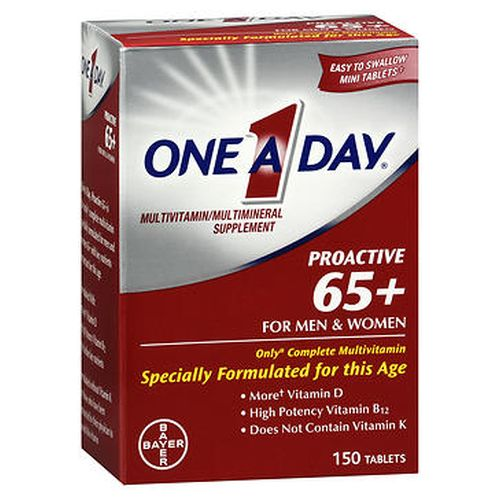 OneADay Proactive 65+ for Men & Women MultivitaminMultimineral Tablets 150 Tabs by Bayer The only# complete multivitamin specially formulated for men and women 65+ with key nutrients important for this age. Formulated without vitamin K for those who have been instructed by their physician to avoid this vitamin. Formulated to support*  Healthy blood pressure^^ with vitamin C  calcium  magnesium and more## vitamin D. Bone health with calcium  magnesium and more## vitamin D. Physical energy with Bvitamins++ to help convert food to fuel. Cell health with antioxidants  vitamins A  C  zinc  manganese  copper and selenium. Heart health** with vitamins B6  B12 and folic acid. Easy to swallow mini tablets (50% smaller than One A Day Womens 50+ Healthy Advantage). Does not contain aspirin. *This statement has not been evaluated by the Food and Drug Administration. This product is not intended to diagnose  treat  cure  or prevent any disease. **Not a replacement for heart medications. ^^To help support blood pressure levels already within the normal range. ++Vitamins B1  B2  B6  B12  niacin  folic acid  biotin and pantothenic acid.#With 50% DV more vitamin D than Centrum Silver Adults 50+ (1200 IU vs. 1000 IU).