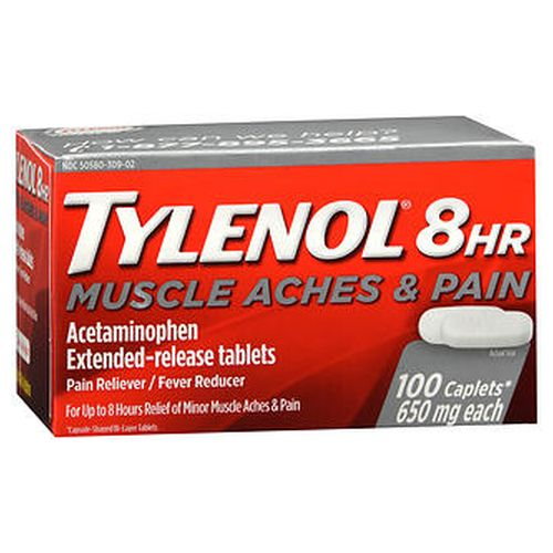 Tylenol 8Hr Muscle Aches & Pain ExtendedRelease Tablets 100 Tabs by Tylenol Temporarily relieves minor aches and pains due to  muscular aches  backache  minor pain of arthritis  toothache  premenstrual and menstrual cramps  headache  the common cold. Temporarily reduces fever. Extendedrelease tablets. Contains no aspirin. For up to 8 hours of relief.