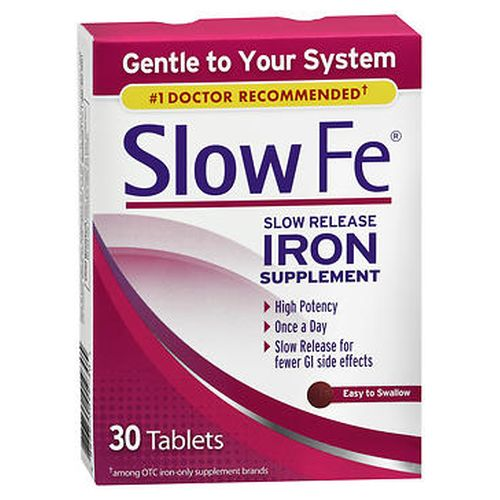 Slow Fe Slow Release Iron Supplement 30 Tabs by Slow Fe An iron supplement for iron deficiency and iron deficiency anemia when the need for such therapy has been determined by a physician. Iron deficiency is most common among women (approximately 12% of US women). This supplement has a controlled delivery system that provides high potency iron while being gentle on your stomach  so you experience fewer GI side effects (nausea and abdominal discomfort) common to iron use. Easy to swallow.
