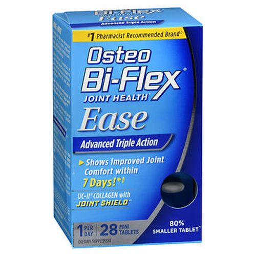 Osteo BiFlex Ease MiniTablets 28 Tablets by Osteo BiFlex Advanced triple action. Shows improved joint comfort within 7 days.* 80% smaller tablets. Say goodbye to traditional joint formulas and hello to Osteo BiFlex Ease. A unique natural source of collagen that supports joint comfort.* Shows improved joint comfort in 7 days.* An active & potent form of vitamin D that helps support bone health.* Free of shellfish and gluten and is completely nonGMO. *These statements have not been evaluated by the Food and Drug Administration. This product is not intended to diagnose  treat  cure or prevent any disease.