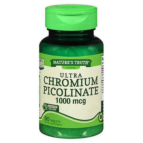 Natures Truth Ultra Chromium Picolinate Tablets 90 Tabs by Natures Truth Chromium is an essential trace mineral that is not made by the body and must be obtained from the diet or supplementation. These glutenfree tablets provide you with 1000 mcg of this important mineral. No gluten  wheat  yeast  milk  lactose  soy  artificial color  artificial flavor  artificial sweetener  preservatives. NonGMO.