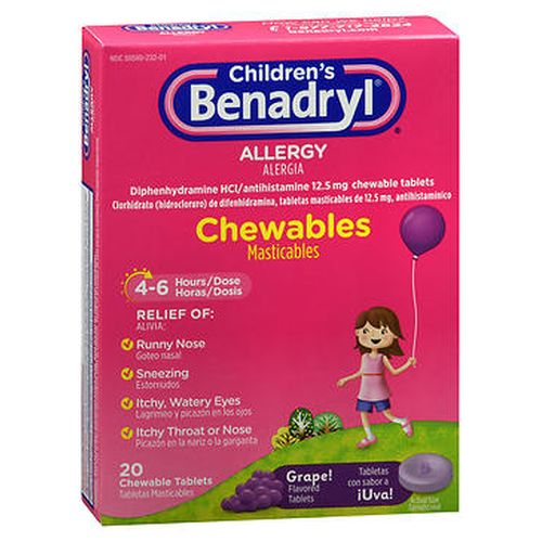 Benadryl ChildrenS Allergy Chewable Tablets Grape Flavored 20 Tabs by Benadryl Benadryl ChildrenS Allergy Chewable Tablets Grape Flavored 20 Tabs by Benadryl