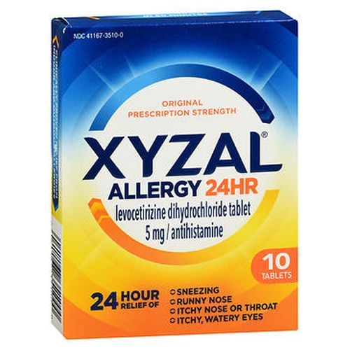 Xyzal Allergy 24 Hr Tablets 10 Ct 10 Tabs by Xyzal Temporarily relieves these symptoms due to hay fever or other respiratory allergies  runny nose itchy  watery eyes sneezing itching of the nose or throat. Clinically proven relief for 24 hours. Clinically proven relief in 60 minutes. Original prescription strength. Contains 10 tablets.