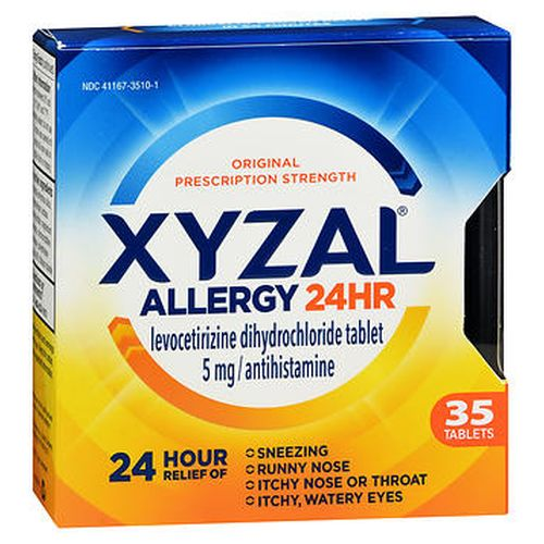 Xyzal Allergy 24 Hr Tablets 35 Tabs by Xyzal Temporarily relieves these symptoms due to hay fever or other respiratory allergies  runny nose itchy  watery eyes sneezing itching of the nose or throat. Clinically proven relief for 24 hours. Clinically proven relief in 60 minutes. Original prescription strength. Contains 35 tablets.