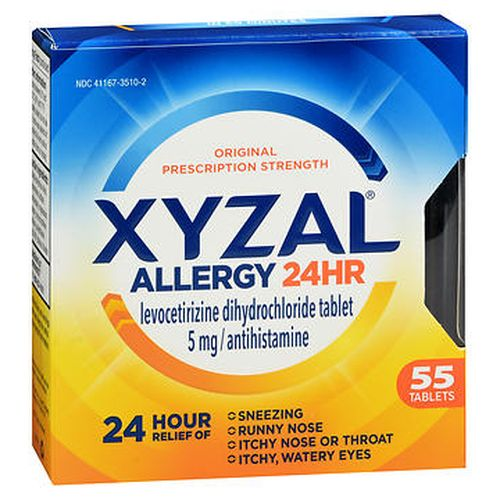 Xyzal Allergy Tablets 55 Tabs by Xyzal Temporarily relieves these symptoms due to hay fever or other respiratory allergies  runny nose itchy  watery eyes sneezing itching of the nose or throat. Clinically proven relief for 24 hours. Clinically proven relief in 60 minutes. Original prescription strength. Contains 55 tablets.