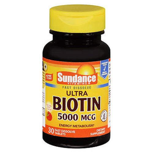 Sundance Vitamins Ultra Biotin Tablets Natural Berry Flavor 30 Tabs by Sundance Helps convert food into energy for the body.* Energy metabolism.* Contains 5000 mcg of high potency Biotin per serving. You deserve to be happy and healthy. Sundance Vitamins makes superior quality nutritional products affordable for everyone. We believe each person deserves to live their healthy lifestyle without worry about cost  one product at a time. Fast dissolve tablets. Gluten free. Laboratory tested. *These statements have not been evaluated by the Food and Drug Administration. This product is not intended to diagnose  treat  cure or prevent any disease.
