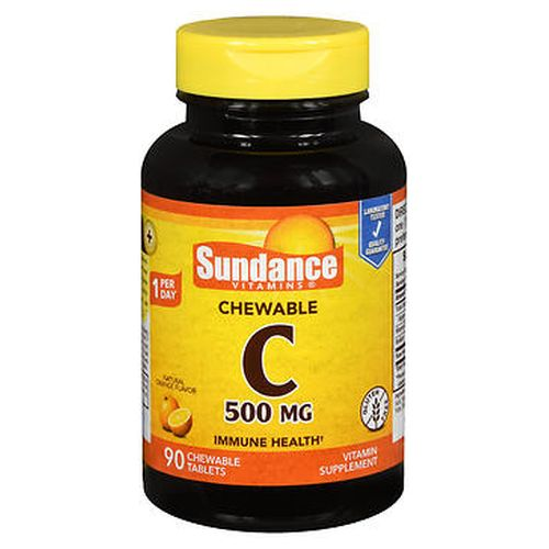 Sundance Vitamin C Chewable Tablets Natural Orange Flavor 90 Tabs by Sundance Supports immune system health.* Helps fight celldamaging free radicals.* Delicious chewable tablets. Gluten free. *These statements have not been evaluated by the Food and Drug Administration. This product is not intended to diagnose  treat  cure or prevent any disease.