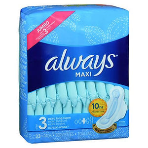 Always Maxi Pads With Flexi-Wings Size 3 Jumbo Pack Extra Long Super