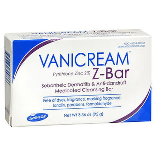 Vanicream ZBar Medicated 3.36Oz by Vaniply Controls and reduces the symptoms of dandruff and seborrheic dermatitis. Helps relieve itching  irritation  redness  flaking  and scaling associated with dandruff and seborrheic dermatitis. Mild and gentle  noncomedogenic  soapfree  glutenfree  for face  hands  body & scalp. Contains Vanicream skin cream. Free of dyes  fragrance  masking fragrance  lanolin  parabens  formaldehyde. For sensitive skin. Dermatologist tested.