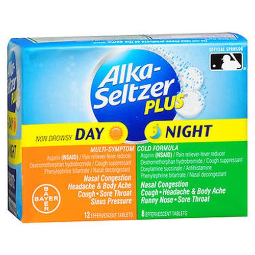 AlkaSeltzer Plus Day & Night MultiSymptom Cold Formula Effervescent Tablets 20 Tabs by Bayer Day  Temporarily relieves these symptoms due to a cold  Minor aches and pains Headache Cough Nasal and sinus congestion Sore throat. Temporarily reduces fever. Night  Temporarily relieves these symptoms due to a cold  Minor aches and pains Headache Runny nose Sinus congestion and pressure Cough Sneezing Sore throat Nasal congestion. Temporarily reduces fever. Day  Nondrowsy. 12 day and 8 night effervescent tablets.