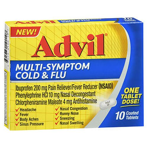 Advil MultiSymptom Cold & Flu Coated Tablets 10 Tabs by Advil Advil MultiSymptom Cold & Flu Coated Tablets 10 Tabs by Advil