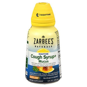 Zarbee'S Naturals Nighttime Cough Syrup + Mucus Natural Honey Lemon Flavor