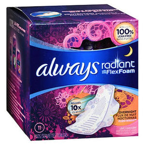 Always Radiant Pads With Flexi-Wings Overnight Flow Light Clean Scent
