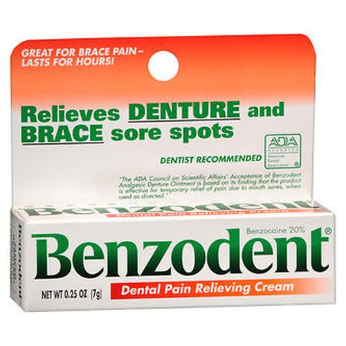 Benzodent Dental Pain Relieving Cream 0.25 Oz by Benzodent For the temporary relief of pain due to minor irritation of the mouth and gums caused by dentures or orthodontic appliances or injury to mouth and gums. Dentist recommended. Thick formula lasts for hours. Maximum strength.