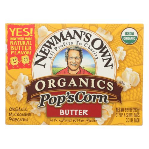 Microwave Popcorn Organic Butter 9.9 Oz by Newman's Own Popcorners Butter Popped Corn Chips are a delicious snack with the snap of a chip and the same wholesome goodness as popcorn.They are air popped with real corn and all-natural ingredients so you can snack smart. Enjoy them alone or with your favorite dips.