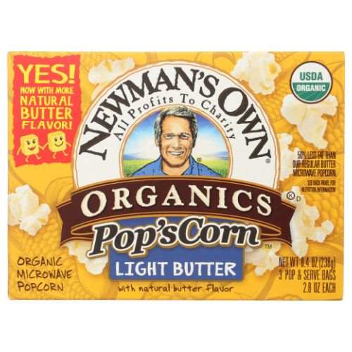 Microwave Popcorn Light Butter 8.4 Oz by Newman's Own Popcorners Butter Popped Corn Chips are a delicious snack with the snap of a chip and the same wholesome goodness as popcorn.They are air popped with real corn and all-natural ingredients so you can snack smart. Enjoy them alone or with your favorite dips.