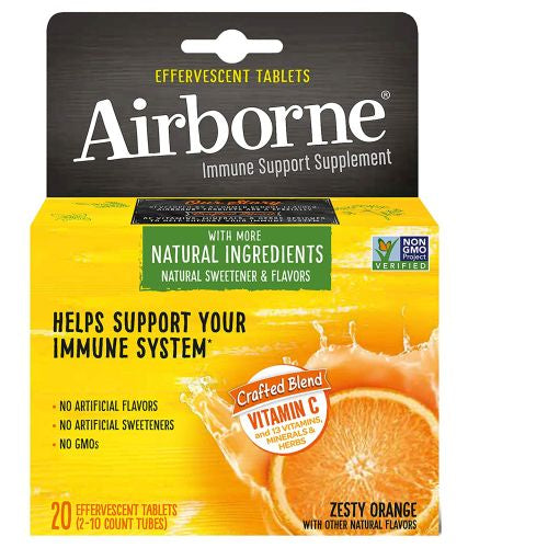 Effervescent Tablets Orange 20 Count by Airborne Airborne zesty orange effervescent tablets has more natural ingredients, natural sweetener and flavors. This specially crafted blend with a tasty zesty orange flavor helps support your immune system.