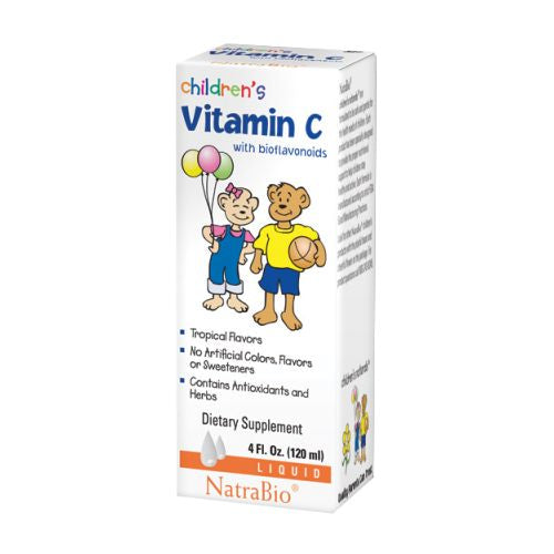 Childrens Vitamin C 4 FL Oz by NatraBio Vitamin C is primarily an antioxidant used to relieve infections, bruising, colds & flu, sinusitis, sore throats, blood clots, arthersclerosis, high blood pressure, physical and mental stress, weak immune system, cholesterol levels, live toxicity and collagen formation.