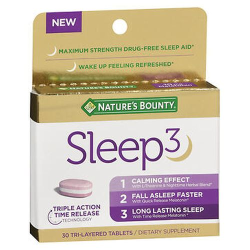 Nature's Bounty Sleep3 Tri-Layered Tablets 30 Tabs by Nature's Bounty Sleep3 is a triple action, 100% drug-free sleep aid.* Each tablet leverages time-released technology to dissolve each layer at different times throughout the night to help you relax and get a good night's sleep so you can wake up ready to take on the day.* Melatonin plays a vital role in the maintenance of circadian rhythm  sleep-wake  cycle*, sleep induction and sleep duration. L-Theanine interacts with the neurotransmitter GABA, to support a calm and relaxed mood. Our proprietary Nighttime Herbal Blend includes chamomile, lavender, lemon balm and valerian root extracts. 3 benefits in one pill. 1. Calming effect. with L-Theanine & nighttime herbal blend.* 2. Fall asleep faster with quick release melatonin.* 3. Long lasting sleep with time release melatonin.* Maximum strength. Non-GMO. No artificial flavor, artificial sweetener, preservatives, sugar, starch, milk, lactose, soy, gluten, wheat, yeast, fish. Sodium free. Suitable for vegetarians.
