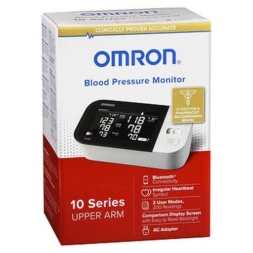 Omron Blood Pressure Monitor 10 Series Upper Arm BP7450 1 Each by Omron Advanced accuracy: This most precise home blood pressure monitors ever, helping ensure consistent readings. Bluetooth connectivity: Wirelessly transfers your readings to the Omron app on your smart device, making it easy to track your progress over time. Comparison display: Dual LCD screen display enables side by side viewing of your current reading compared to your previous reading. Easy wrap ComFit cuff: This cuff inflates around your entire arm helping to ensure the brachial artery is compressed for an accurate reading. Two user mode: Allows two users to track their readings. Advanced averaging: Exclusive technology automatically displays the average of up to the last 3 readings taken within the last 10 minutes. TruRead: Automatically takes 3 consecutive readings at intervals you can customize (15 seconds, 30 seconds, 60 seconds, or the optimal 2 minute rest period between readings) and displays the average. Extra large digits with backlight: For easier to read results. Irregular heartbeat symbol: Alerts you to the number (up to 3) of irregular heartbeats while your blood pressure is being measured. 200 memory storage: 100 memory storage with Advanced Averaging, for 2 users (200 readings total). Date and time stamp makes it easy to review the last 100 readings with the touch of a button. High symbol: Easy to read symbol appears if your systolic blood pressure is 130 mmHg or above and/or your diastolic blood pressure is 80 mmHg or above. AC adapter: Plugs into your wall so the monitor is ready whenever you are. 5 year limited warranty. Contains: 1 digital automatic blood pressure monitor, 1 easy wrap ComFit cuff (fits arms 9  to 17 , 22 cm to 42 cm in circumference), 1 illustrated instruction manual, 1 quick start guide, 1 AC adapter, 4 AA batteries.