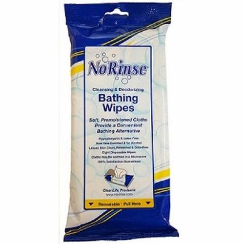 Rinse-Free Bath Wipe - Pakc of 8 by No Rinse One pack provides a complete bath (8 wipes)No water necessaryAlcohol FreeCleans and deodorizesCan be warmed in microwave