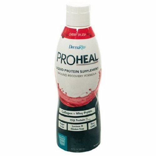 Oral Protein Supplement / Tube Feeding Formula ProHeal Cherry Splash Flavor 1 oz. Container Bottle R - Case of 96 by DermaRite A concentrated blend of hydrolyzed collagen and whey protein, for maximum protein content and absorptionProHealis a medical food developed for the dietary management of wounds, and other conditions that would benefit from supplemental protein intake such as hypoalbuminemia, involuntary weight loss, anorexia, protein calorie malnutrition, muscle wasting conditions (cancer, AIDS), dialysis and bariatric surgerySugar, lactose and gluten freeMay be administered orally or via feeding tube