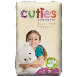 Unisex Baby Diaper Cuties  Complete Care Tab Closure Size 6 Disposable Heavy Absorbency 21 Bags by First Quality
