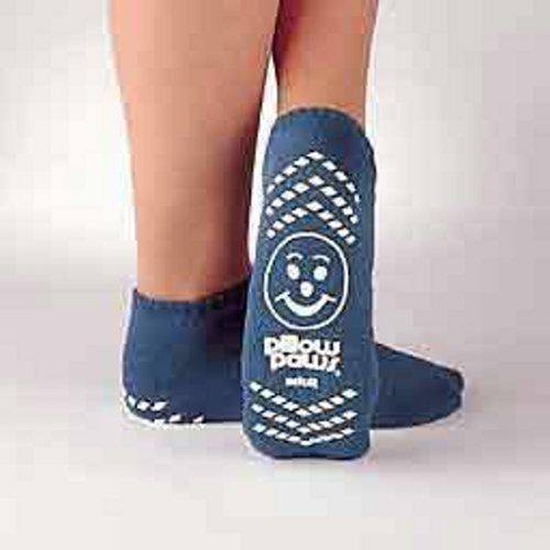 Slipper Socks Pillow Paws Youth Light Blue Ankle High - Light Blue Case of 48 by Principle Business Enterprises Double printed slippers, printed both on the top and bottom, so if the slipper rolls the patient will still have tractionUnisex