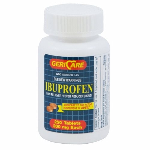 Pain Relief GeriCare 200 mg Strength Ibuprofen Tablet 250 per Bottle 250 Tabs by McKesson Ibuprofen TabletsIbuprofen is used to reduceáfeverTemporarily treat pain or inflammation caused by many conditions such as headache  toothache  back pain  arthritis  menstrual cramps  or minor injuryIbuprofen is a nonsteroidal antiinflammatory drug (NSAIDCompares to the active ingredient in Advil tablets.Not Made with Natural Rubber Latex.Packaged  250 Per BottleAdvil is a registered trademark of Wyeth Consumer Healthcare.