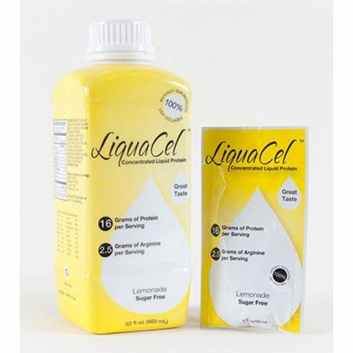Oral Protein Supplement LiquaCel Lemonade Flavor 32 oz. Container Bottle Ready to Use - 1 Each by Global Health Products 16 grams of protein and 2.5 grams of arginine in every servingContains all essential and nonessential amino acidsCan be taken straight or diluted with 1-6 oz. of your favorite beverageSugar freeGluten free