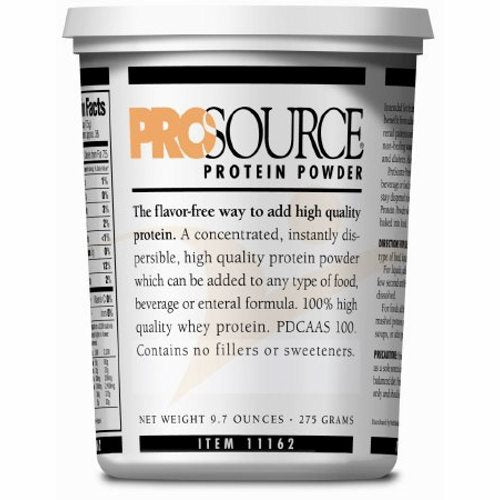Protein Supplement ProSource Unflavored 9.7 oz. Tub Powder - Case of 6 by Prosource Easy to mix, highly soluble dual action modular protein powderModular protein powder with the benefit of whey for muscle enhancement and casein for muscle repairDual action protein provides superior results to just single source protein powdersMixes easilyInstantly dispersibleUse with hot or cold foods & beveragesEach serving provides 6 grams of proteinUse orally or add to tube feedsFlavorless - does not affect taste