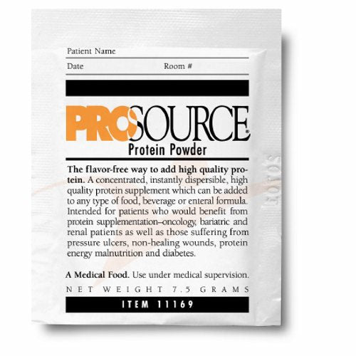 Protein Supplement ProSource Unflavored 7.5 Gram Individual Packet Powder - Case of 100 by Prosource Easy to mix, highly soluble dual action modular protein powderModular protein powder with the benefit of whey for muscle enhancement and casein for muscle repairDual action protein provides superior results to just single source protein powdersMixes easilyInstantly dispersibleUse with hot or cold foods & beveragesUse orally or add to tube feedsFlavorless - does not affect taste