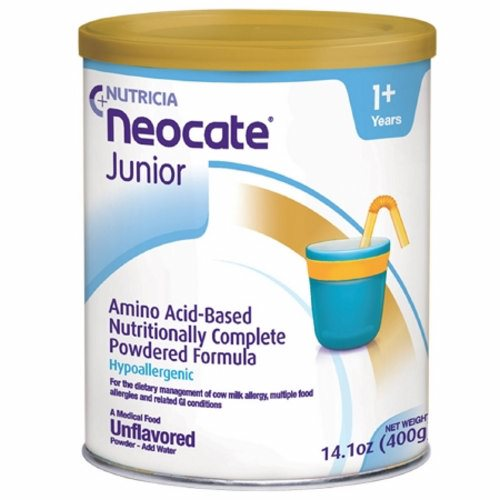 Pediatric Oral Supplement / Tube Feed - Case of 4 by Nutricia North America Neocate Junior is a hypoallergenic, nutritionally-complete, powdered, amino acid-based medical food for individuals over the age of 1Extra vitamins and minerals for malabsorptive conditionsHypoallergenic, amino acid-based formula in a powdered formEasy and convenient mixingCan be used for oral or tube feedingMade in a 100% dairy-free facility with ingredients that are certified by suppliers to be derived from non-genetically modified organisms