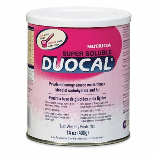High Calorie Oral Supplement Duocal Unflavored 14 oz. Can Powder - Case of 6 by Nutricia North America Duocal is a high-calorie, protein-free nutritional supplement that you can add to foods and beverages without altering the taste or texture when your child needs more calories in his or her dietHigh-calorie, protein-free nutritional supplement in a powdered formProvides protein to Add to foods and beverages without altering the taste or textureIdeal to add to both sweet and savory foods and drinks without significantly altering flavor or textureIt is also suitable for use in cookingCalorically dense - 1 scoop provides 25 kcal