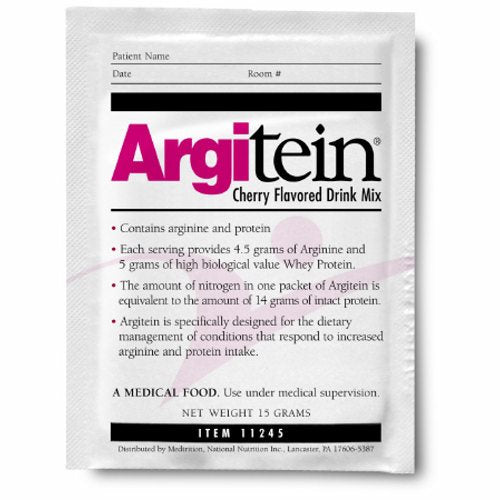 Arginine / Whey Protein Supplement ArgiTein Cherry Flavor 15 Gram Individual Packet Powder - Case of 50 by Medtrition/National N Combination of both arginine and whey protein for accelerated wound healing4.5 grams of arginine5 grams of whey proteinMixes easily & provides benefit of lower volumePleasant tasting cherry drink mixNitrogen equivalent to 14 grams of intact proteinWell accepted by patientsUse orally or add to tube feedsIdeal for use when advanced wound care is required