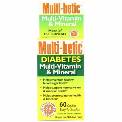 Diabetic Multivitamin Supplement Multi-betic Alpha Lipoic Acid / Multivitamin / Chromium / Selenium - 60 Caplets by Multi-Betic Multi-betic Original Multi-Vitamin, Mineral, Antioxidant Supplement is an advanced diabetic formula with chromium, alpha lipoic acid, lutein and lycopene24 hour continuous supportHelps support healthy blood sugar levels, normal vision, heart and nerve health