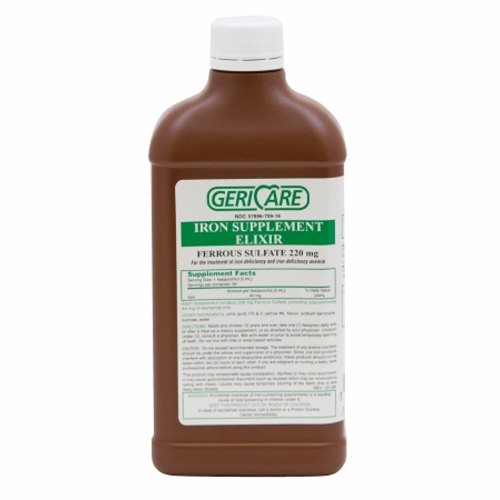 Mineral Supplement GeriCare Iron 220 mg Strength Liquid 16 oz. 16 Oz by McKesson Ferrous Sulfate Elixir220 mg / 5 mL16 fl. oz. (473 mL)Vitamin and Mineral Supplement.Not Made with Natural Rubber LatexPackaged  Each