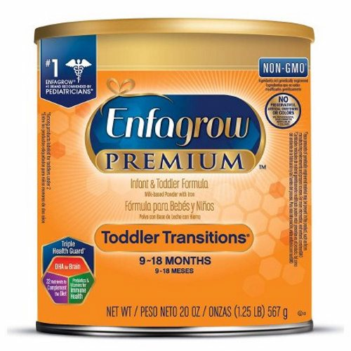 Pediatric Oral Supplement Enfagrow Premium Toddler Transitions Unflavored 20 oz. Can Powder - Case of 4 by Mead Johnson Baby formula that is specifically designed to keep up with your babys transition into toddlerhood at 25% less than the cost of Enfamil PREMIUM Infant formula17 mg of brain-nourishing DHA per 100 CaloriesProprietary Triple Health Guard blend that has DHA to help support brain development, prebiotics and vitamins to help support immune health and 30 total nutrients for growthNon-GMO - not genetically engineered